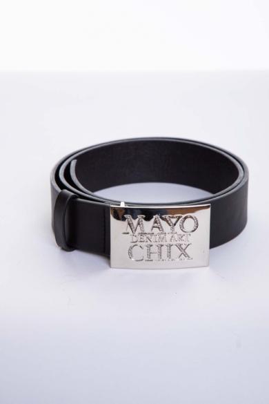 Mayo Chix - Strasszos Kocka Matt Fekete Öv (Ezüst)
